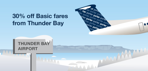 30% off Basic fares from Thunder Bay